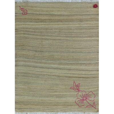 One-of-a-Kind Kwiatkowski Hand-Woven Wool Beige Area Rug