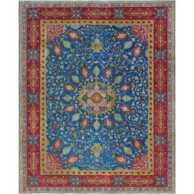 One-of-a-Kind Dinardo Distressed Hand-Knotted Wool Blue/Red Area Rug