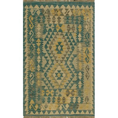 One-of-a-Kind Priston Hand-Woven Wool Blue/Beige Area Rug