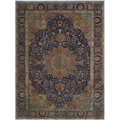 One-of-a-Kind Kappel Distressed Hand-Knotted Wool Blue/Brown Area Rug
