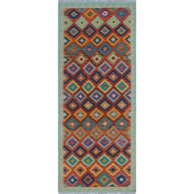 One-of-a-Kind Priston Hand-Woven Wool Green/Rust Area Rug