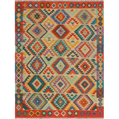 One-of-a-Kind Priston Hand-Woven Wool Beige/Orange Area Rug