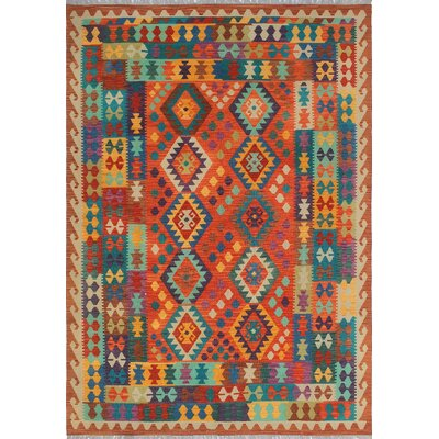 One-of-a-Kind Priston Hand-Woven Wool Rust/Teal Area Rug