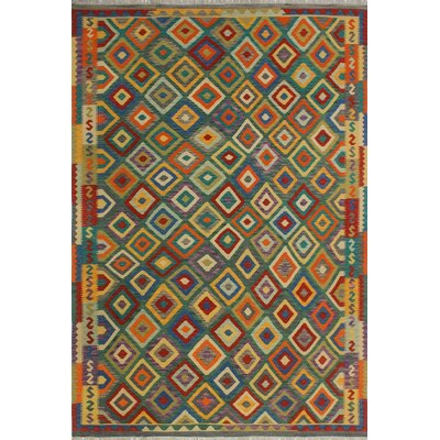 One-of-a-Kind Priston Hand-Woven Wool Green/Yellow Area Rug