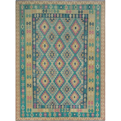 One-of-a-Kind Priston Hand-Woven Wool Beige/Teal Area Rug