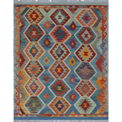 One-of-a-Kind Priston Hand-Woven Wool Blue/Orange Area Rug