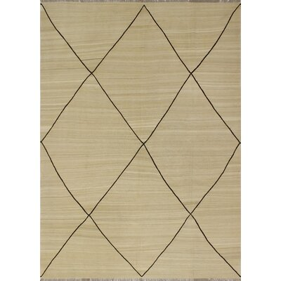 One-of-a-Kind Culligan Hand-Woven Wool Beige Area Rug