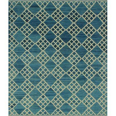 One-of-a-Kind Hendry Hand-Woven Wool Blue Area Rug
