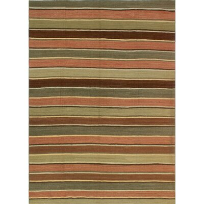 One-of-a-Kind Coutee Hand-Woven Wool Green/Red Area Rug