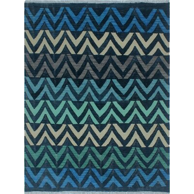 One-of-a-Kind Kwiatkowski Hand-Woven Wool Blue Area Rug