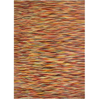 One-of-a-Kind Kwiatkowski Hand-Woven Wool Orange Area Rug