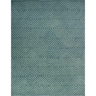One-of-a-Kind Coleg Hand-Woven Wool Blue Area Rug
