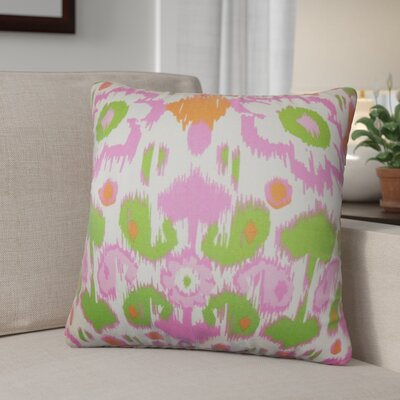 Bhatnagar Ikat Cotton Throw Pillow Cover Color: Green Pink