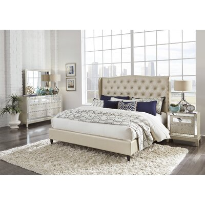 Mcmorrow Upholstered Panel Bed Size: Full, Color: Champagne