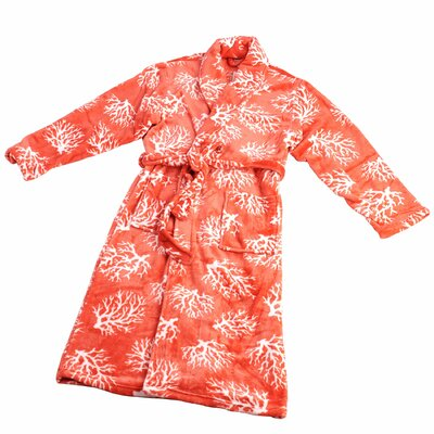 Ardre Microfiber Flannel Fleece Bathrobe Size: Large