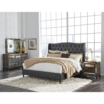 Mcmorrow Upholstered Panel Bed Size: King, Color: Chocolate