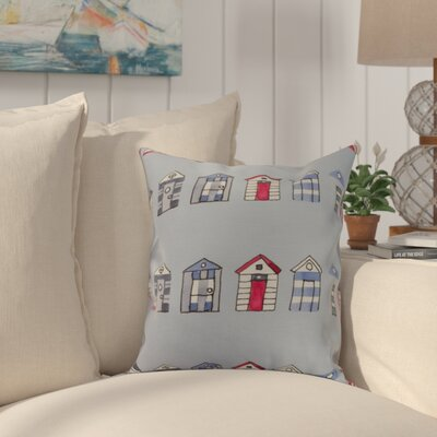 Bryson Beach Hut Throw Pillow Color: Blue, Size: 16 x 16