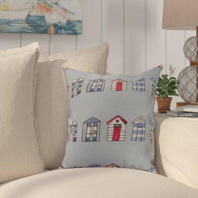 Bryson Beach Hut Throw Pillow Color: Blue, Size: 18 x 18