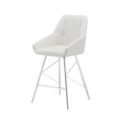 Sanroman Bar Stool (Set of 2) Upholstery: White