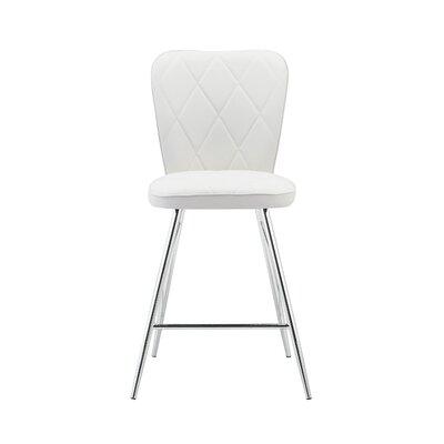 Sanor Back Design Bar Stool (Set of 2) Upholstery: White