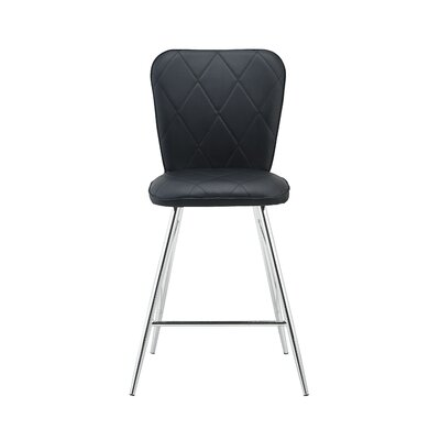 Sanor Back Design Bar Stool (Set of 2) Upholstery: Black
