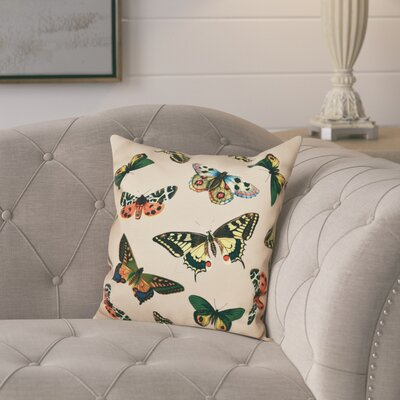 Swan Valley Butterflies Animal Print Throw Pillow Size: 26 H x 26 W, Color: Taupe