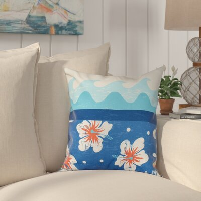 Golden Beach Floral Throw Pillow Size: 16 H x 16 W, Color: Blue