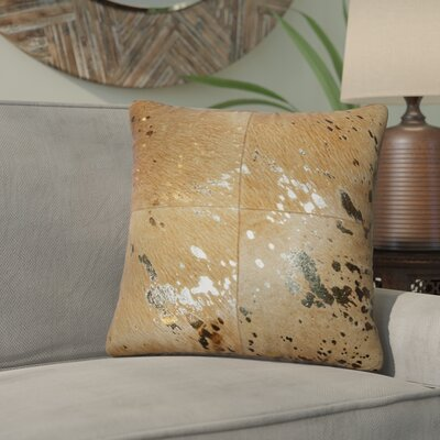 Graham Leather Throw Pillow Color: Gold/Tan