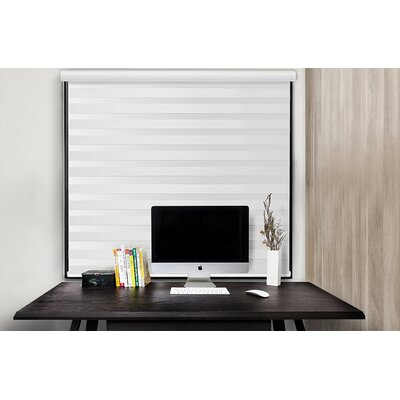 Free Stop Cordless Zebra Semi-Sheer Roller Shade Blind Size: 27W x 72L, Color: White