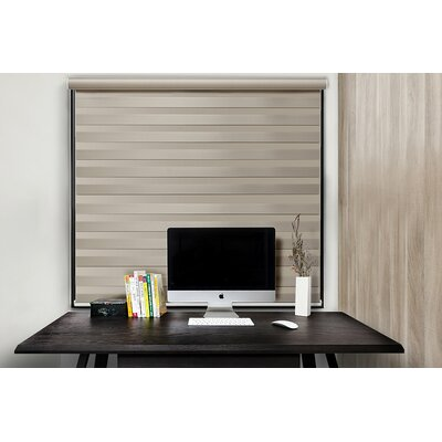 Free Stop Cordless Zebra Semi-Sheer Roller Shade Blind Size: 46W x 72L, Color: Latte