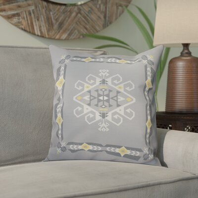 Meetinghouse Jodhpur Border 3 Geometric Outdoor Throw Pillow Size: 18 H x 18 W, Color: Gray