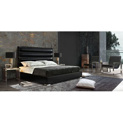 Rian Channel Tufted Upholstered Panel Bed Color: Black, Size: Queen