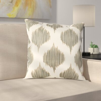 Amabel Stitched Ikat Geometric Cotton Throw Pillow Color: Grey