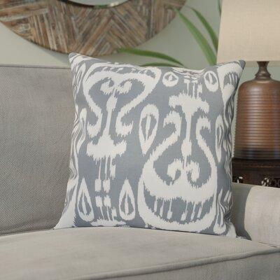 Sabrina Ikat Geometric Outdoor Throw Pillow Size: 18 H x 18 W, Color: Gray