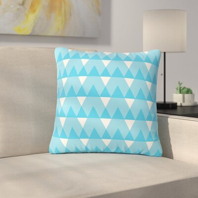 Jackie Rose Triangles Custard Outdoor Throw Pillow Color: White/Blue, Size: 18 H x 18 W x 5 D