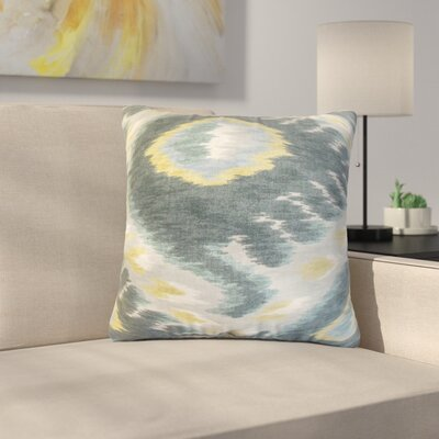 Shekhar Ruddy Ikat Cotton Throw Pillow Color: Blue