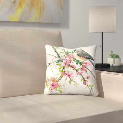 Suren Nersisyan Titmouse and Cherry Blossom Throw Pillow Size: 18 x 18
