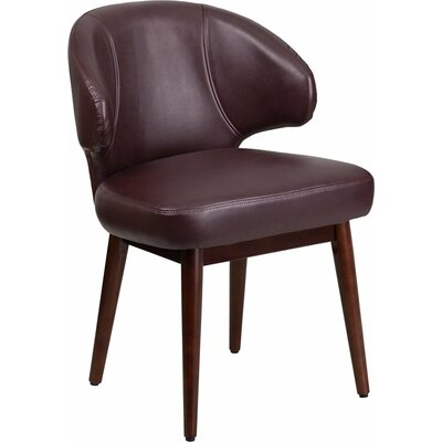 Mccrea Curved Back Leather Guest Chair Seat Color: Burgundy