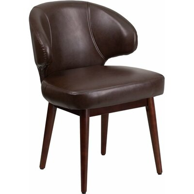 Mccrea Curved Back Leather Guest Chair Seat Color: Brown