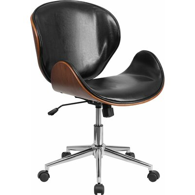 Cutler Mid-Back Swivel Guest Chair Seat Color: Black/Walnut
