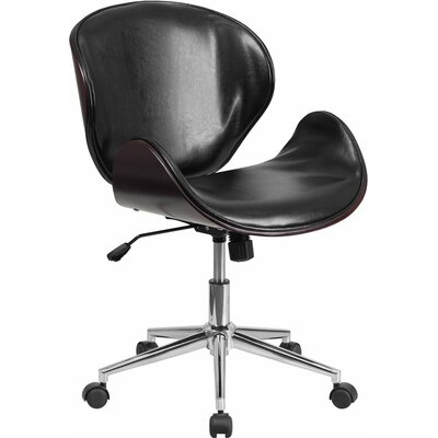 Cutler Mid-Back Swivel Guest Chair Seat Color: Black/Mahogany