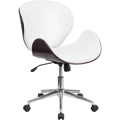 Cutler Mid-Back Swivel Guest Chair Seat Color: White/Mahogany