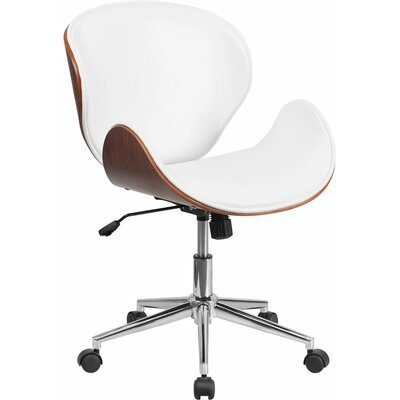 Cutler Mid-Back Swivel Guest Chair Seat Color: White/Walnut
