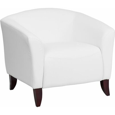 Whicker Leather Guest Chair Seat Color: White