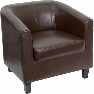 Whicker Leather Guest Chair Seat Color: Brown