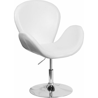 Whicker Leather Lounge Chair Seat Color: White