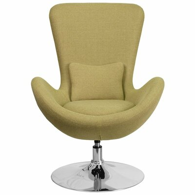 Whicker Leather Lounge Chair Seat Color: Green