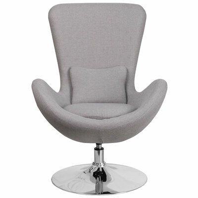 Whicker Leather Lounge Chair Seat Color: Light Gray