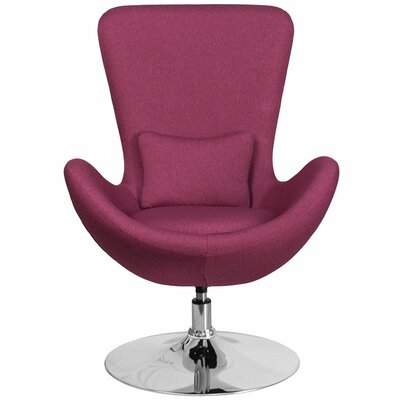Whicker Leather Lounge Chair Seat Color: Magenta