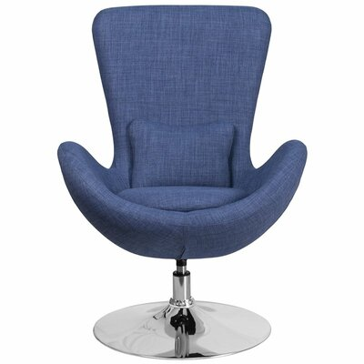 Whicker Leather Lounge Chair Seat Color: Blue